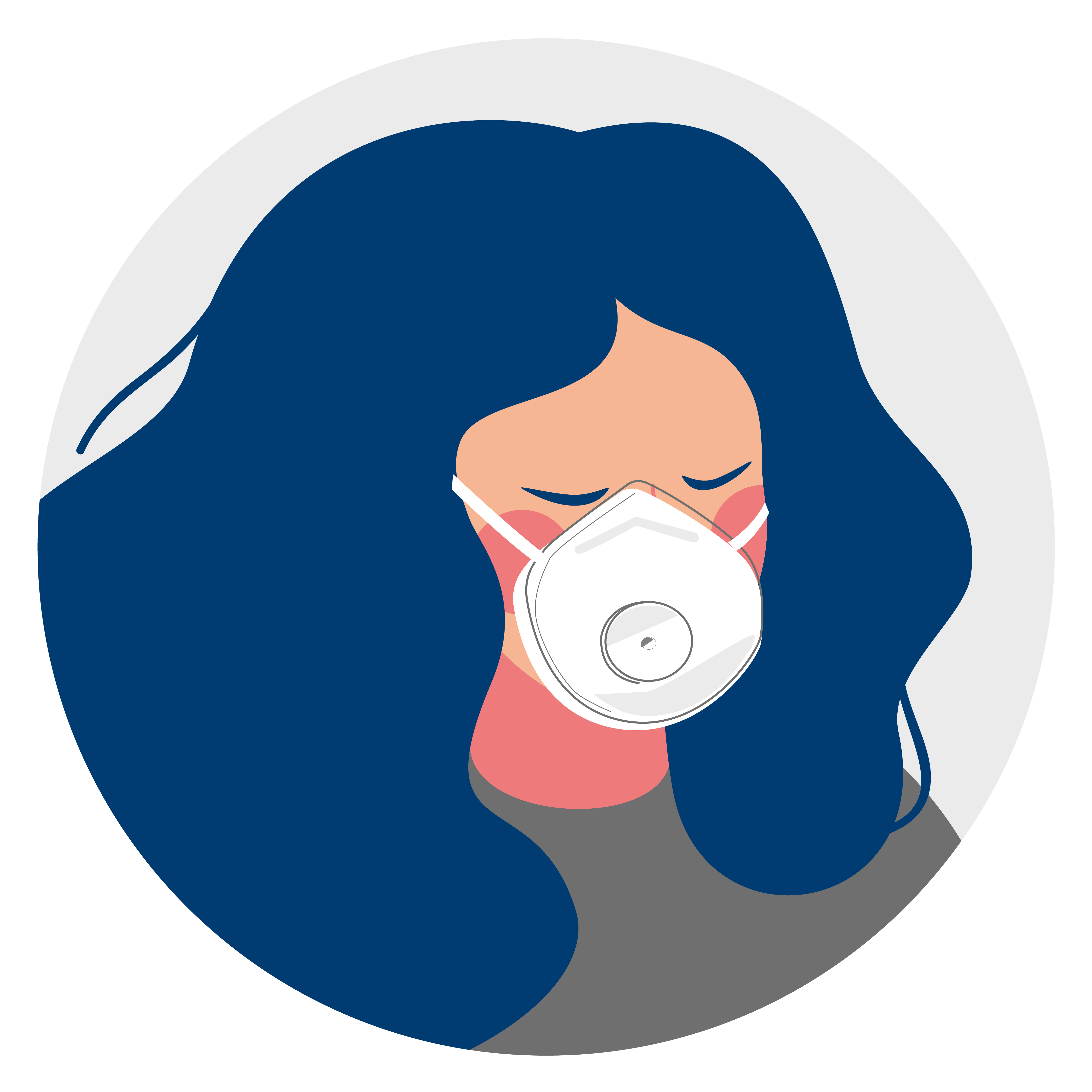 Illustration of a person wearing an N95 mask