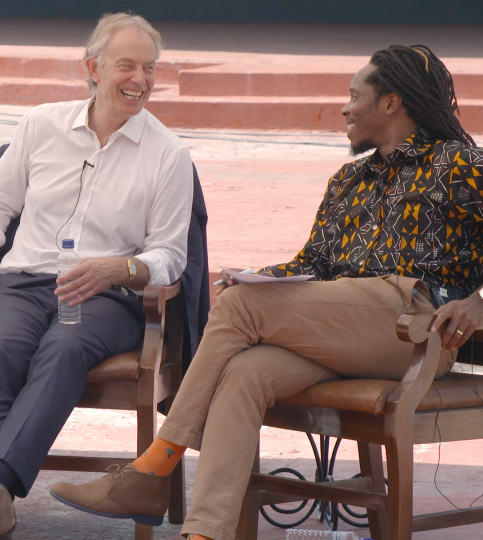 Tony Blair and Dr David Sengeh, Africa's first Chief Innovation Officer, talk