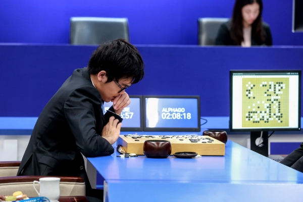 China's 19-year-old Go player Ke Jie plays against Google's artificial intelligence programme AlphaGo