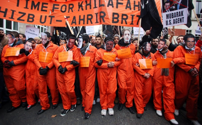Members of the controversial Islamic group Hizb ut-Tarir protest outside of the Egyptian Embassy in central London