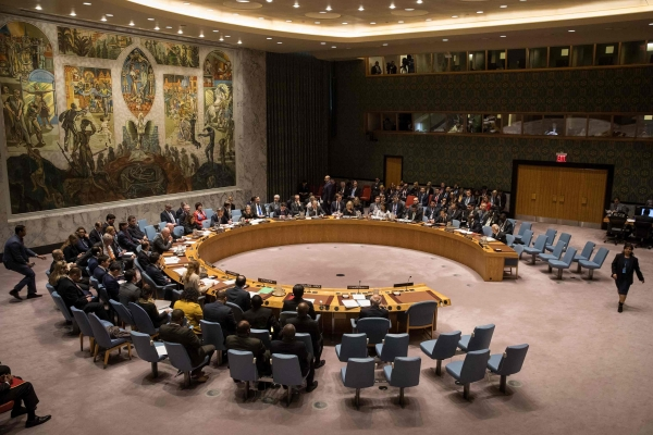 The United Nations Security Council meets at New York Headquarters.