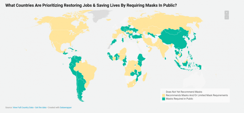 map showing the countries requiring masks