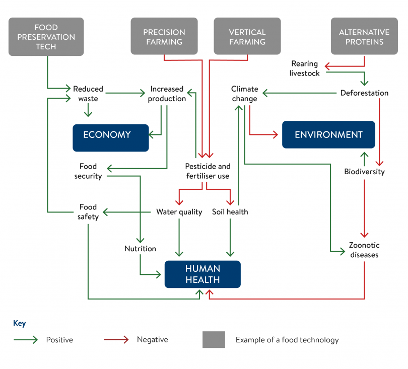 A diagram mapping the key relationships between food technologies and policy objectives.