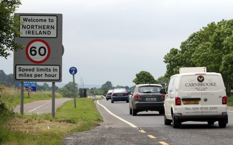 The Irish border is currently marked only by road signs.