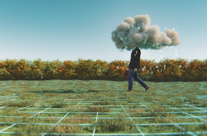 photo illustration of man walking with head in a cloud with numbers falling from it, through a field