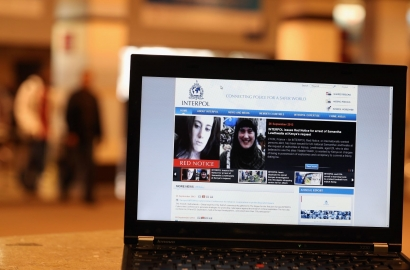 A view of a laptop computer screen showing the Interpol website which features a 'Red Notice' for the arrest of Samantha Lewthwaite on September 26, 2013 in London, England.
