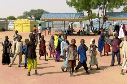 Children play in the Dalori camp, near Maiduguri in northeastern Nigeria, for people displaced by Boko Haram's violence.