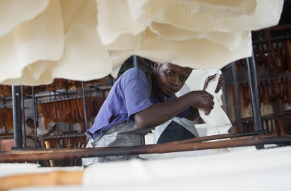 A man processes rubber in Liberia