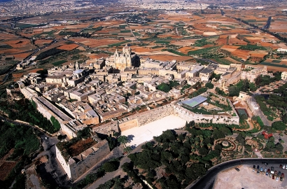 Aerial view of a town in Malta