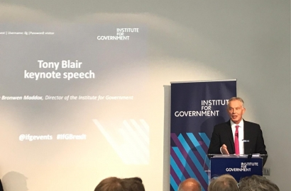 Tony Blair speaking at the Institute for Government
