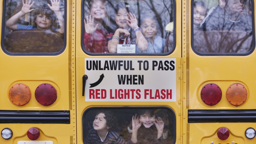 Children in a school bus