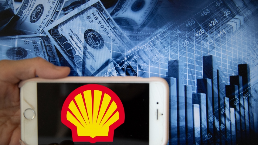 In this illustration is displayed on a smartphone's screen the company logo of Royal Dutch Shell, an oil and gas company which engages in every area of the oil and gas industry, is shown on the screen of a smartphone in front of a blue backdrop of the global stock markets and worldwide indices in Frankfurt, Germany, on 12th June, 2020. It is one of the global companies that has renewable energy activities, including biofuels, wind and hydrogen