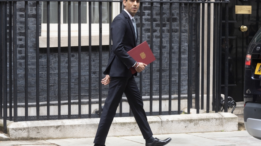 Chancellor of the Exchequer Rishi Sunak leaves 11 Downing Street in central London to deliver the Summer Statement in the House of Commons on 08 July, 2020 in London, England.