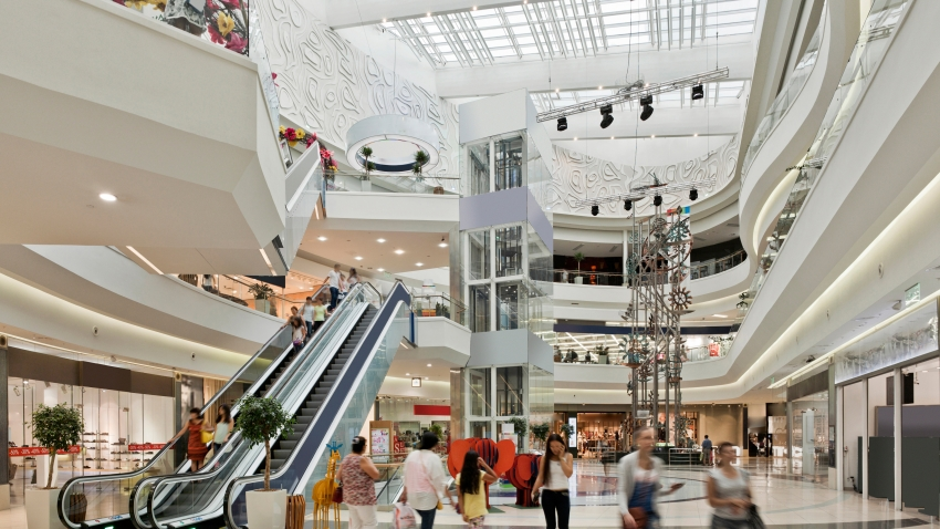 Inside a large shopping mall in Almaty