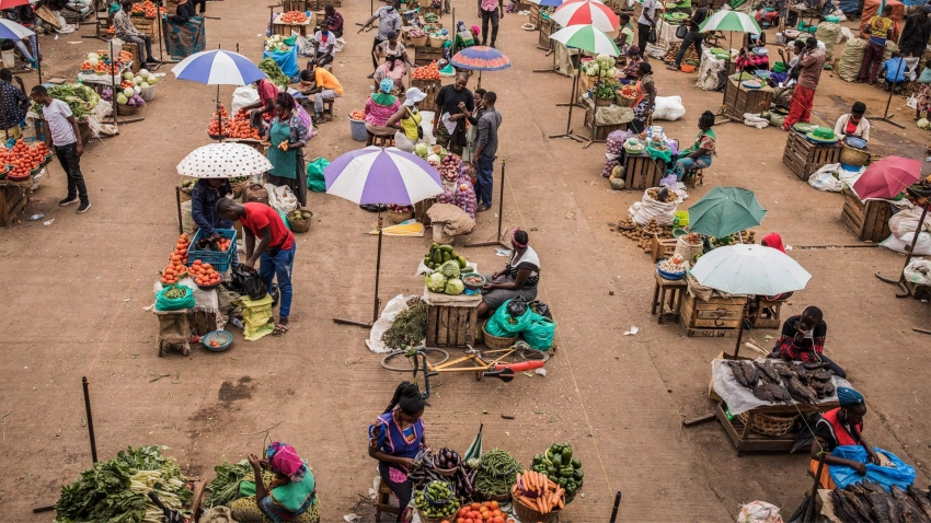 A village market scene in Africa with rows of traders offering their goods