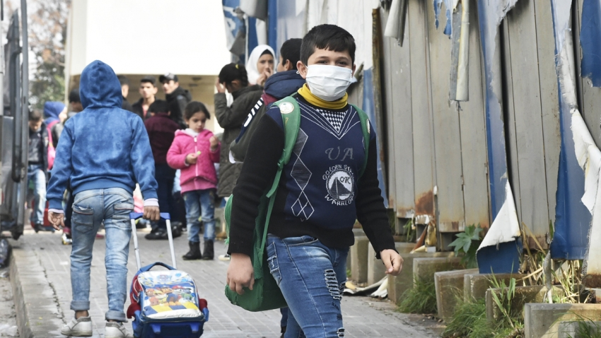 student wearing mask to protect himself from coronavirus in Beirut