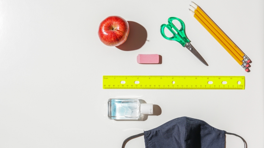Children's school supplies including mask and hand sanitiser