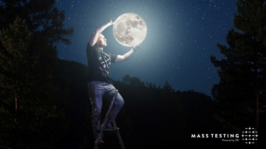 photo illustration of man in a t-shirt climbing a ladder and pulling down the moon