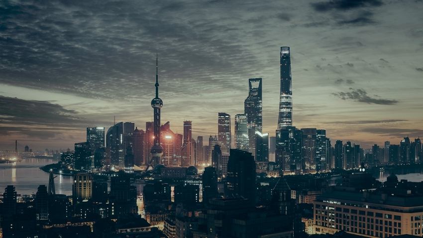 an evening photograph of the shanghai skyline