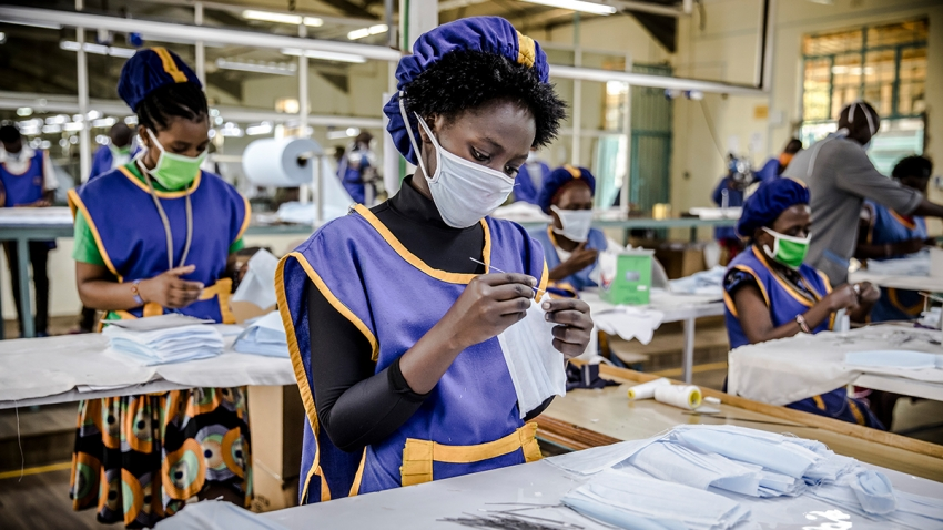 A worker produces face masks at KICOTEC in Kitui, Kenya