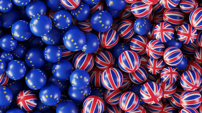 Union Flag and EU flag marbles jumbling together
