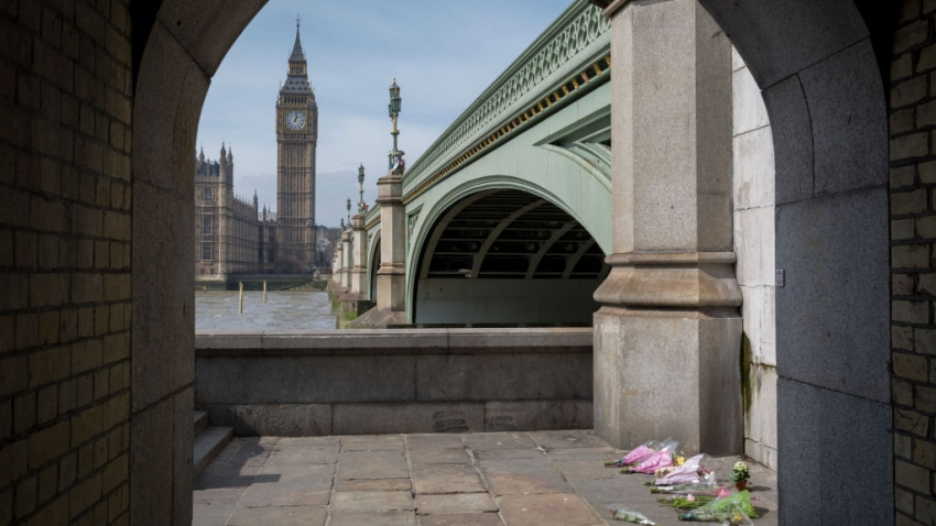 Memorial flowers left near Westminster Bridge, one week after terrorist attack