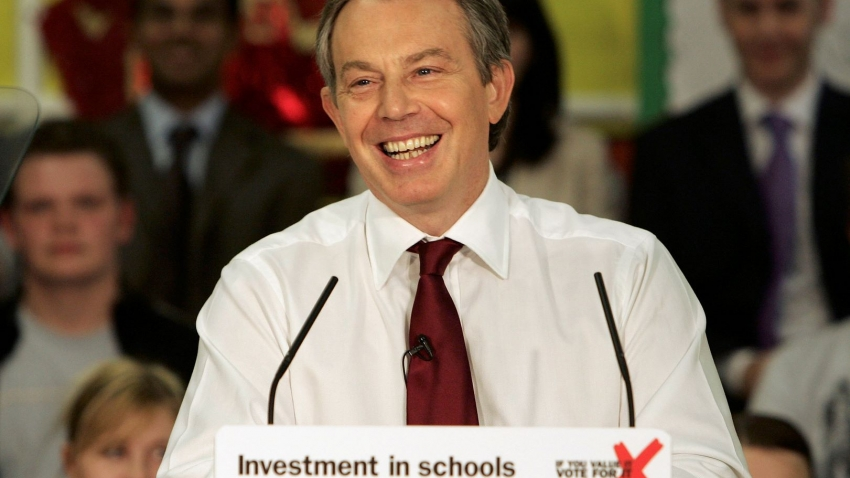 Prime Minister Tony Blair delivers a keynote speech on education policy on April 27, 2005.