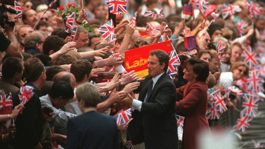 Tony and Cherie Blair greet crowds in 1997