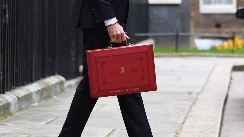 Chancellor Rishi Sunak walks with the Budget box