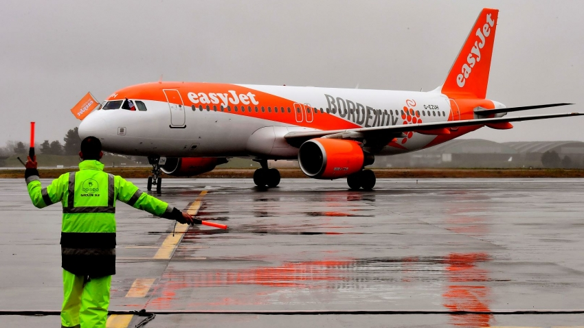 Airplane of low-cost airline EasyJet on the tarmac at an european Airport