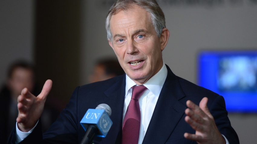 Tony Blair speaks at UN microphone